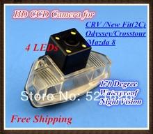 High quality, Color 4LEDs HD Car rear view Camera Backup Camera for Honda CRV / New Fit(2C) / 2009 Odyssey / Crosstour /Mazda 8