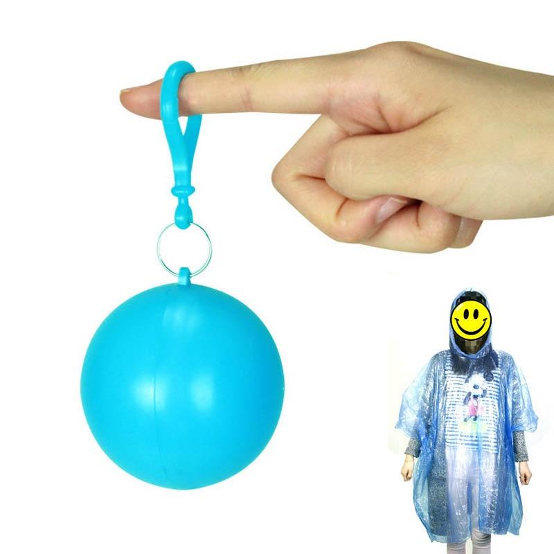 Portable  Travel Emergency Rain Poncho Keyring Ball Disposable Plastic Rainwear 1 PC Hooded Poncho Rain Suit Raincoat Ball