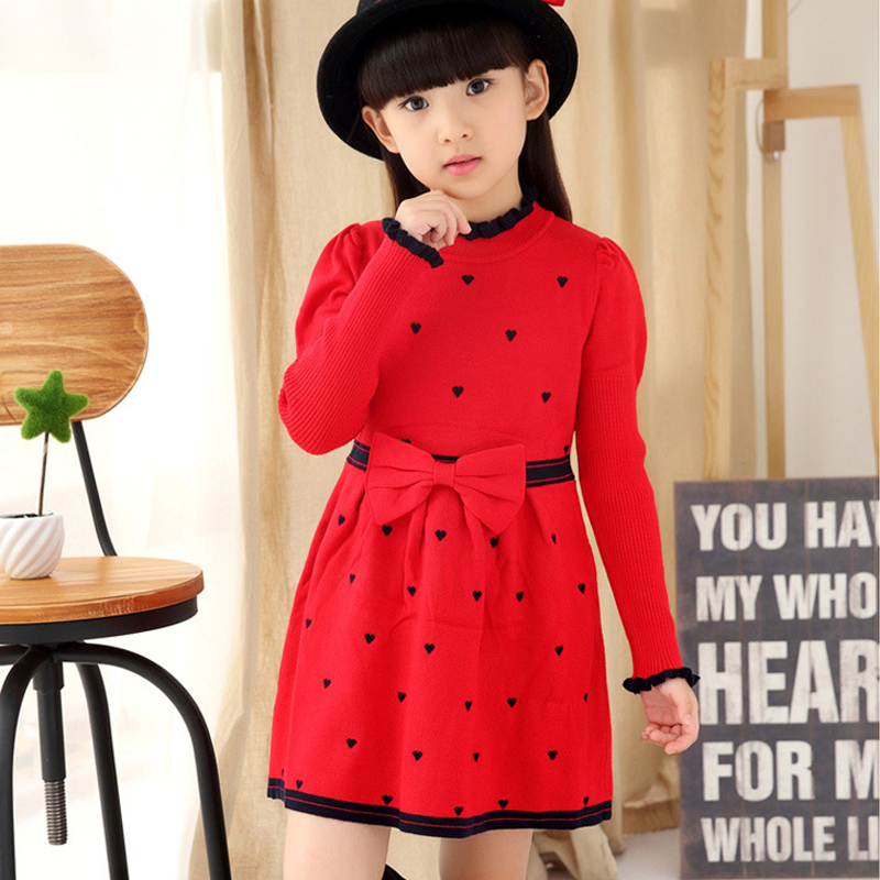 2017 Winter Sweater Dress Girls Bow Sweater Clothes Kids England Dresses Sweater Dresses Baby Girl Autumn Clothes For 4-12 years