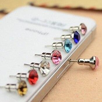 Dual Use!!! Rhinestone Diamond Anti Dust Plug 3.5mm And SIM Card Pin Earphone Jack Cap For iPhone Samsung HTC Huawei Mixed Color