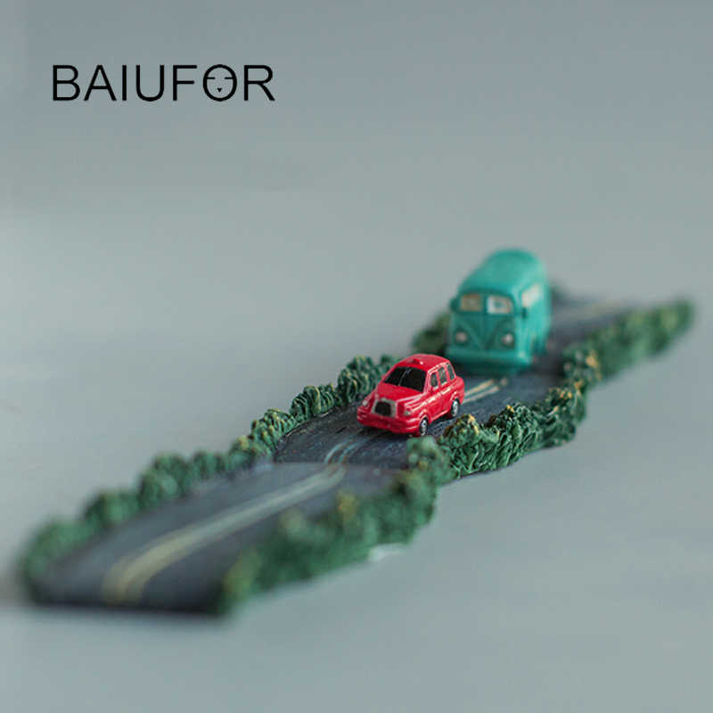 BAIUFOR Animals Miniatures & Figurines Road Highway Bus Battery Car DIY Fairy Garden Miniature Simulation Model Boy's Toys