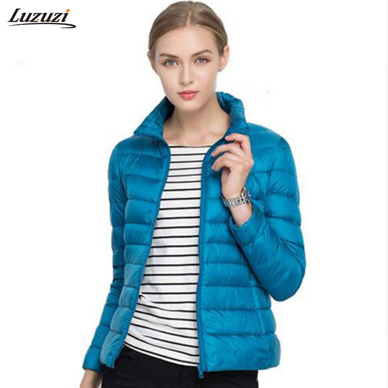 1PC 17 Colors Thin Down Jacket Women Slim Short Coats Stand Collar Autumn Jackets Spring Coat Winter Outerwear Z595