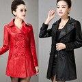 Горячих женщин кожаные ветровка корейских новых женских пальто мода длинный тонкий двубортный кожаная куртка