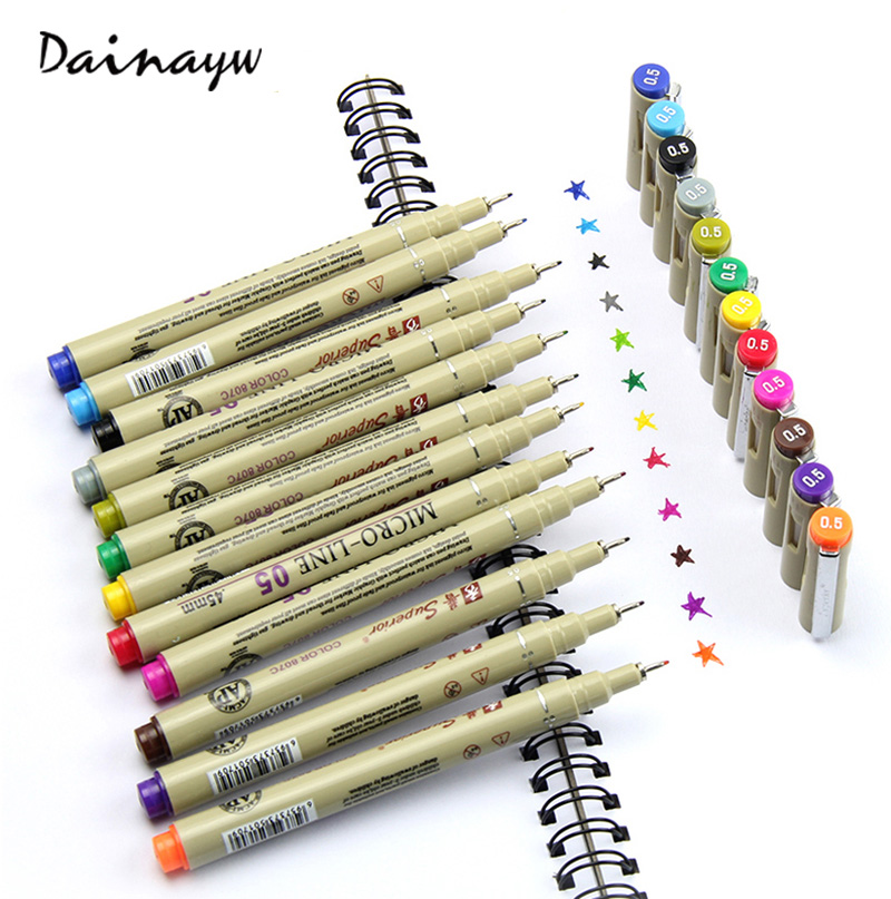 005 Rotuladores 12 Colores Sketch Markers Finecolour Pen Fine Draw Graphic art Marker Pen For Drawing