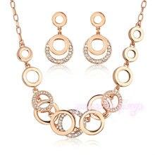 Mytys Oro Rosa Sistemas de La Joyería del Círculo Del Acoplamiento de Cadena Collar y Pendientes de Las Mujeres Conjuntos de Joyas CN39