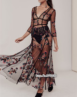 Women Love BBeatrice Maxi Dress In Red Sequin Flowers Spaghetti Straps Underwire Cups Sequined 3 D Embroidery Floral Maxi Dress
