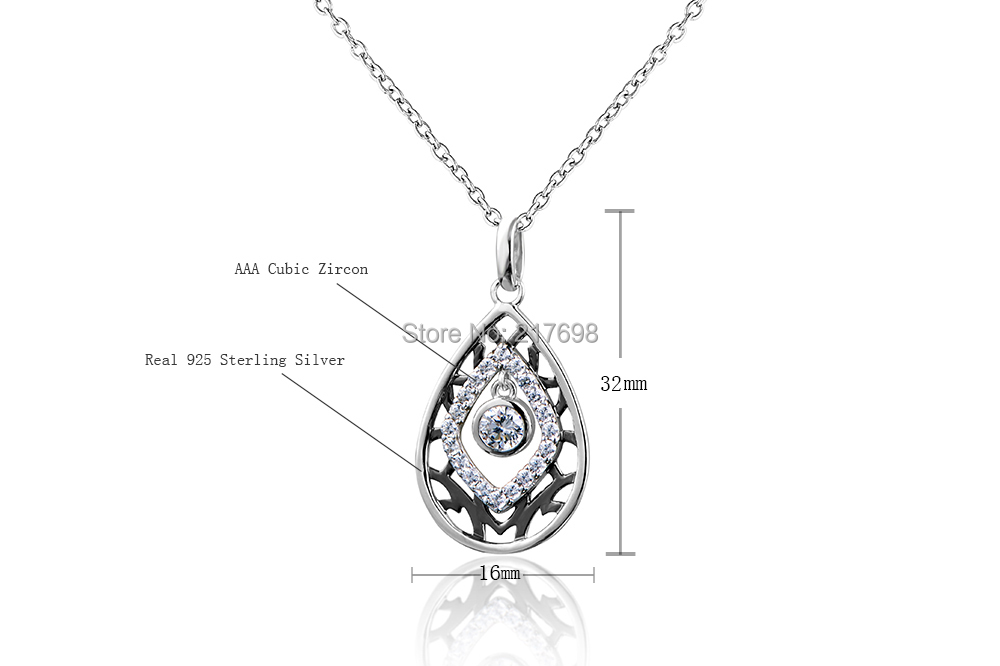 DORMITH free shipping High quality 925 sterling silver AAA cubic zirconia for women 1.07 carat  pendant necklaces jewelry