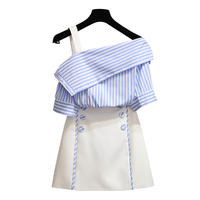 women two piece suits, smart skirts, summer new mental women's loose harness, shirt small fresh and handsome suit skirt + blouse