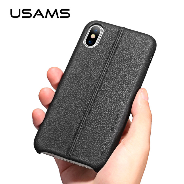 For iphone X case USAMS Joe Series with Litchi lines iphoneX Luxury PU Leather case for Apple X