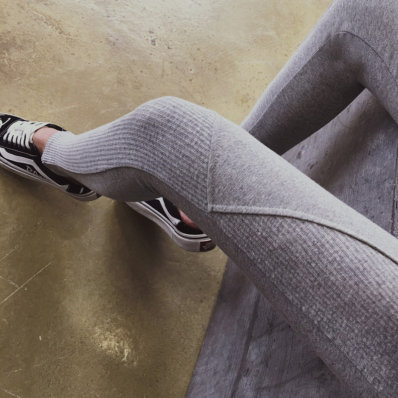 Korean Ribbed Women Stretch High Elastic Waist Casual Cotton Pants Plus Size Ladies Patchwork Slim Skinny Pencil Pants Leggings