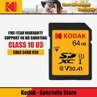 Kodak tarjeta sd 64GB tarjeta de memoria de 128gb SDXC U3/U1 V30/V90 carte sd para Sony Canon Nikon micro cámara digital SLR cartao de memoria