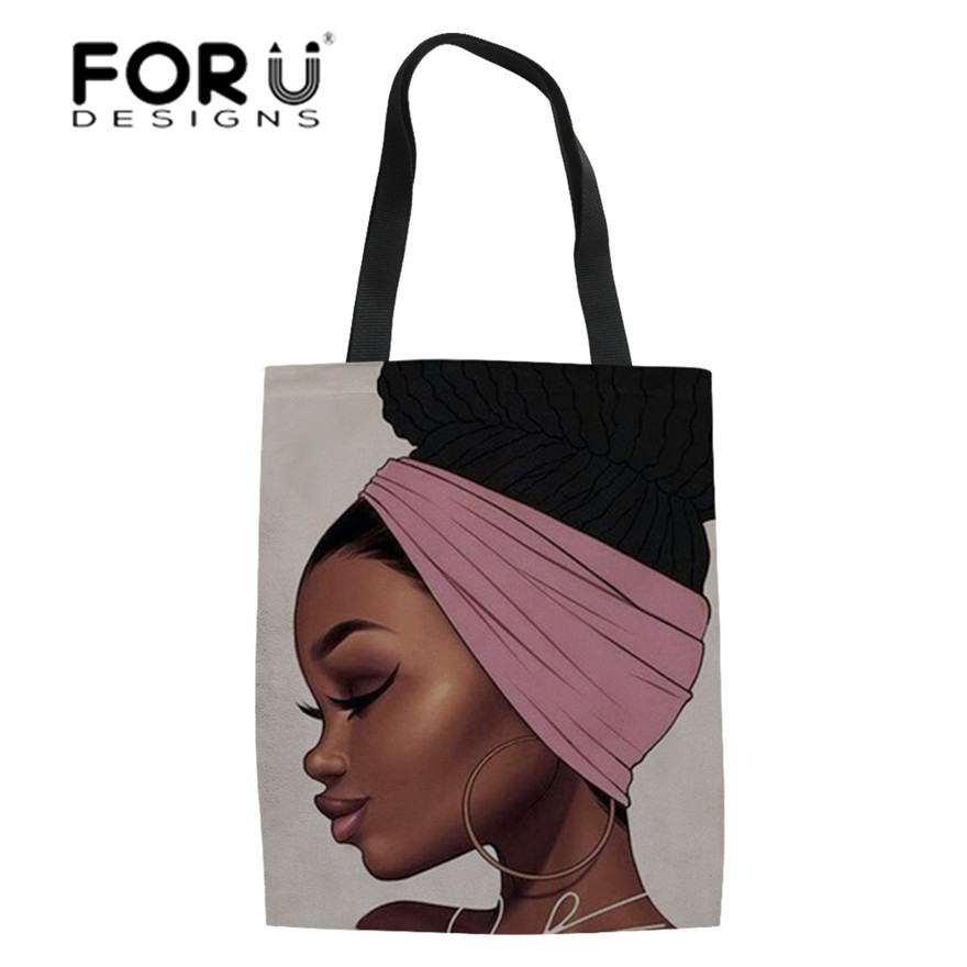 FORUDESIGNS Linen Tote Bags Women Black Art African Girl Printing Shopping Bag Ladies Foldable Shopper Bags For Females Eco Bag