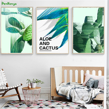 Green Cactus Plant Poster Print Funky Floral Wall Art Picture Modern Home Decoration Canvas Painting No Frame D206