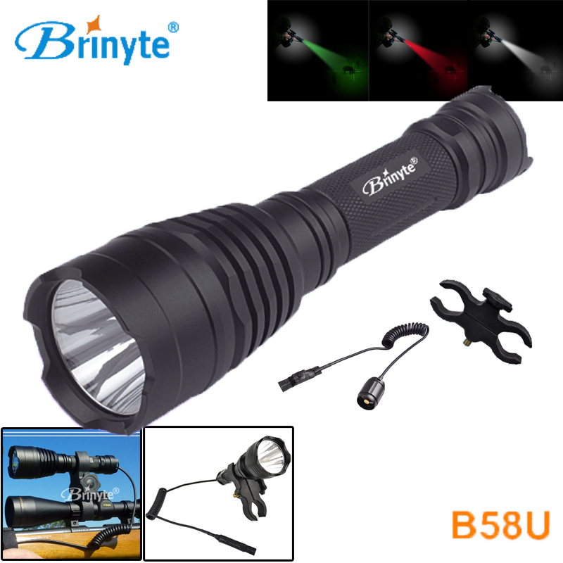 Brinyte B58U Best Hunting Flashlight Torch Waterproof Cree XM-L2 LED Outdoor Flashlights with Remote Switch and Gun Mount проектор hitachi hcp 380wx hdmi rj45 usb