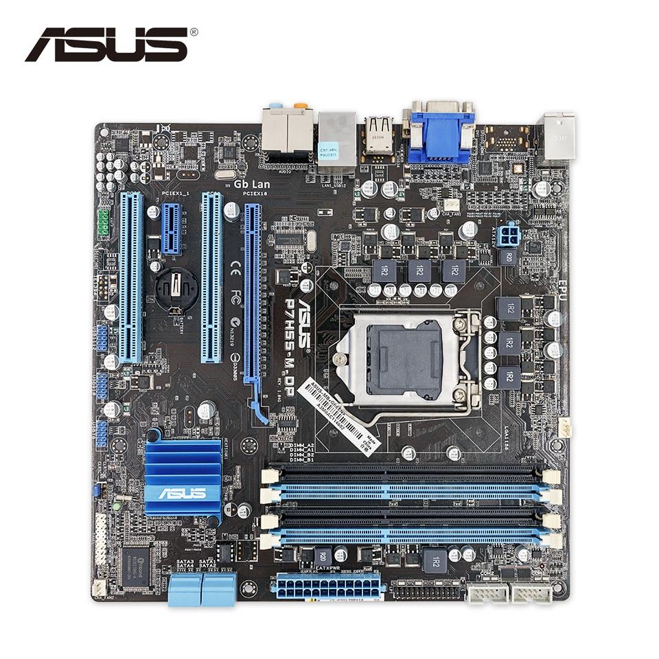 Asus P7H55-M DP Original Used Desktop Motherboard H55 Socket LGA 1156 i3 i5 i7 DDR3 16G uATX On Sale original new desktop motherboard for asus p7h55 m usb3 h55 support socket lga 1156 i7 i5 i3 maximum ddr3 16gb sata2 2 usb3 uatx