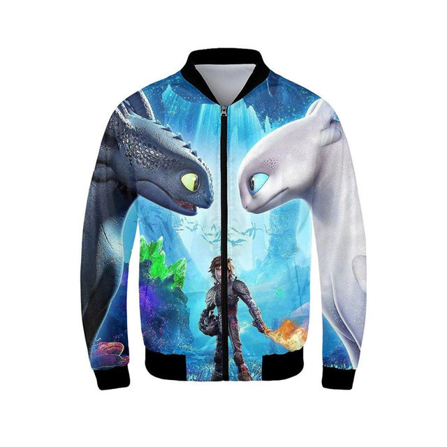 99f89e684 Men's Bomber Jacket Fashion How to Train Your Dragon 3D Printed Coats  Stand-Up Collar Long Sleeves Ribbed Cuffs Casual Outerwear