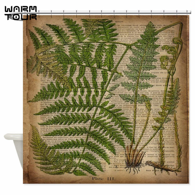 Warm Tour Botanical Fern Leaves Decorative Fabric Shower Curtain Polyester Waterproof Mildew Resistant Bathroom WTC067