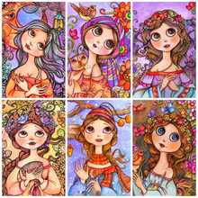HUACAN 5d Diamond Painting New Arrivals Girl Embroidery Full Set Cartoon Square/Round Rhinestones Pictures Mosaic Stones