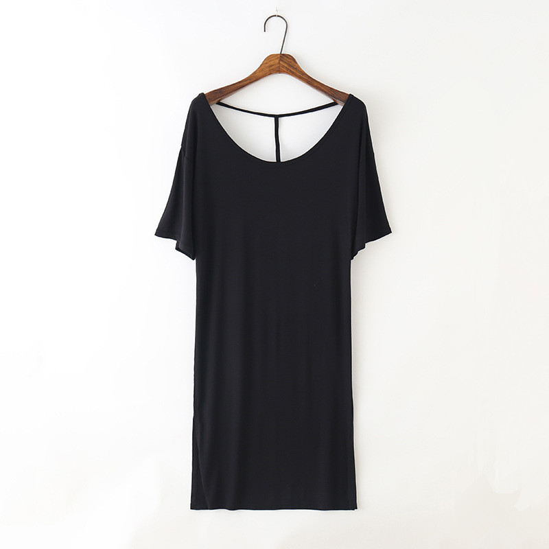 Plus Size Women Nightgowns Sexy Brief Causal Sleep Dress Round Neck Modal Material Loose Knee Length Softy Sleep Dress For Lady