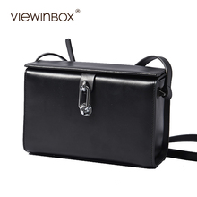 Viewinbox Split Cattle Leather Small Flap Bag Mini Square Bag Famous Brand High Quality Fashion Lady