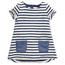 Summer Girls Casual Dress Straight Cotton Stripped Clothes for Kid Girl