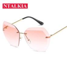 Rimless Diamond Cutting Lens Sunglasses Men Women Brand Designer Oversize Female Male Glasses Shades Sun