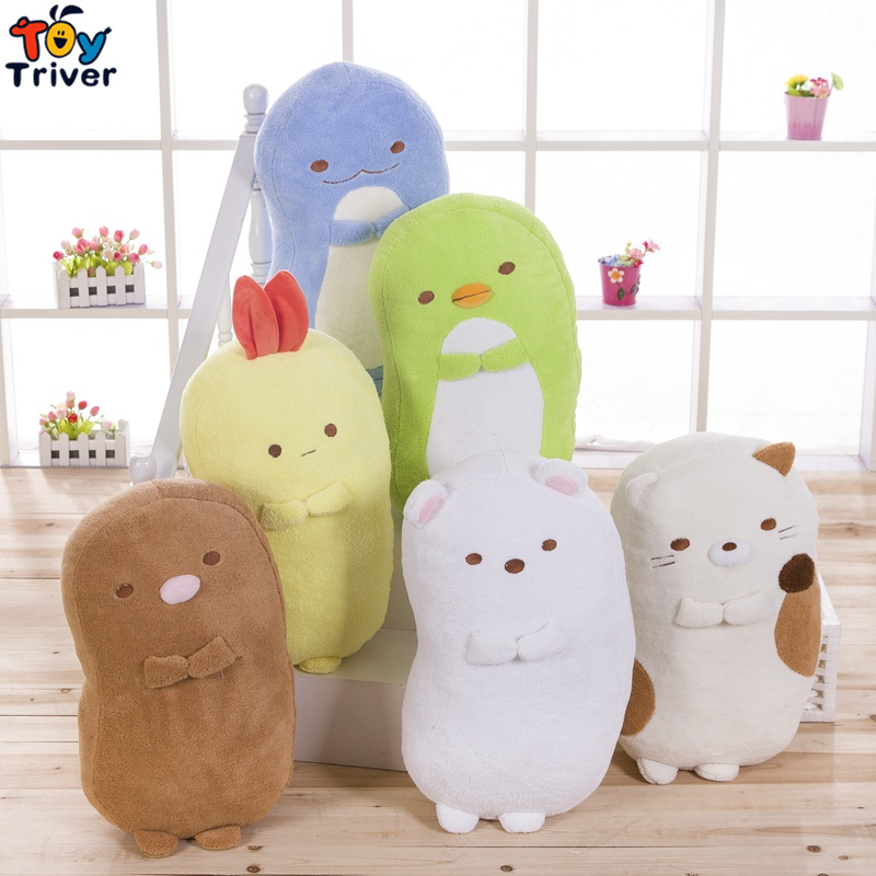цена 42cm San-X Plush Sumikko Gurashi Toy Long Pillow Bolster Cushion Stuffed Doll Kids Birthday Gift Present Shop Home Deco Triver