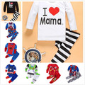 2016 New Spring Autumn Children Sets Kids Clothes Baby I Love Mama Clothes Suit Boys Girls T Shirt Pants Striped Pajamas Sets