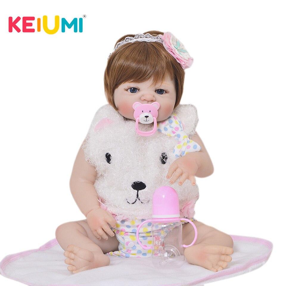 23 ''мода силиконовые Reborn Baby куклы полное виниловое покрытие реалистичные моющиеся для новорожденных, для девочек модели для детей подарки н...