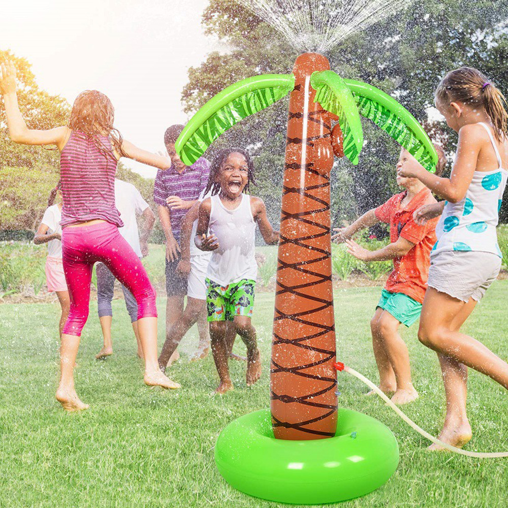 155cm PVC Inflatable Coconut Palm Tree Summer Outdoor Beach Pool Toys Sprinkle Splash Spray Water Toys for Children Gift