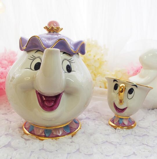 Hot Sale Cartoon Beauty And The Beast Old style Teapot Mug Mrs Potts Chip Tea Pot Cup One Set nice gift for friend Free Shipping