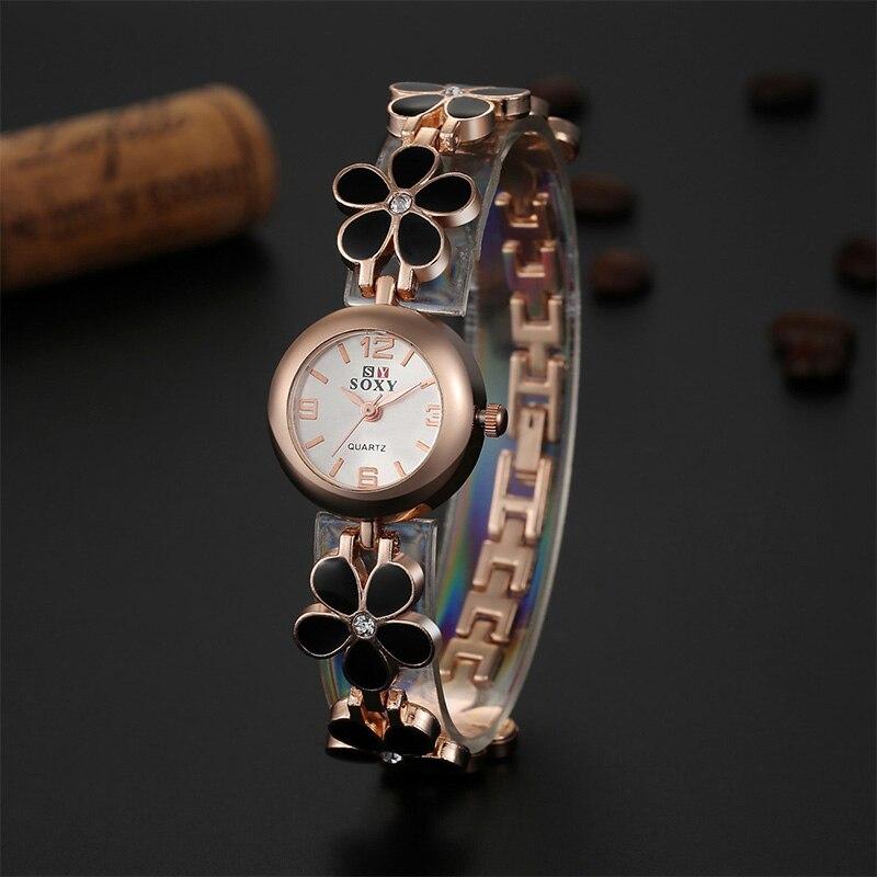 Soxy reloj de marca de lujo mujeres moda oro relojes acero lleno flores  reloj pulsera reloj mujer horas Ladies relojes señora regalo a70ac49435fc