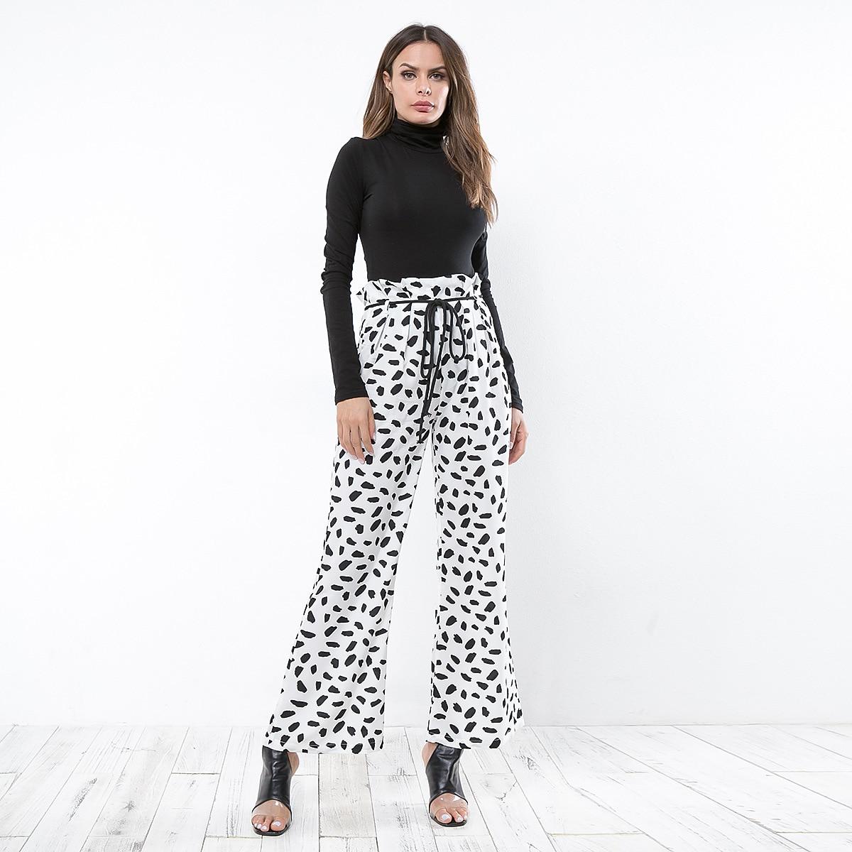 Casual Printed Wide Leg Women   Pants     Capris   High Waist Dot Loose Female Trousers Streetwear Ladies Drawstring Waist   Pants   Bottoms