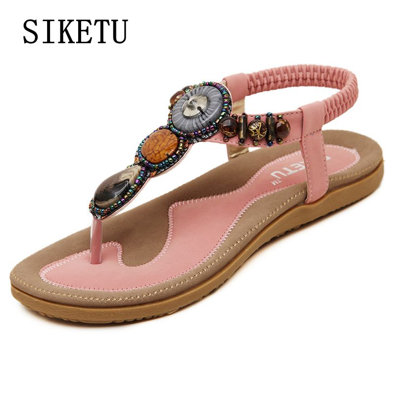 SIKETU Summer fashion women soft sandals beaded casual comfortable flat sandals Bohemia large size beach sandals free shipping 2016 fashion summer women flat beaded bohemia ppen toe flat heel sweet women students beach sandals o643
