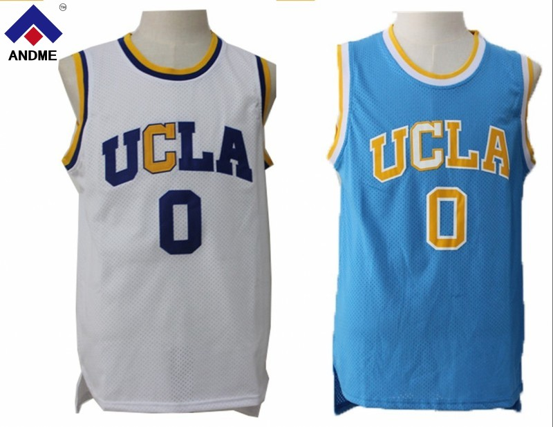 Mens Cheap Throwback Basketball Jerseys #0 Russell Westbrook UCLA Bruins Retro Stitched Embroidery Yellow Blue White Size S-2XL ...