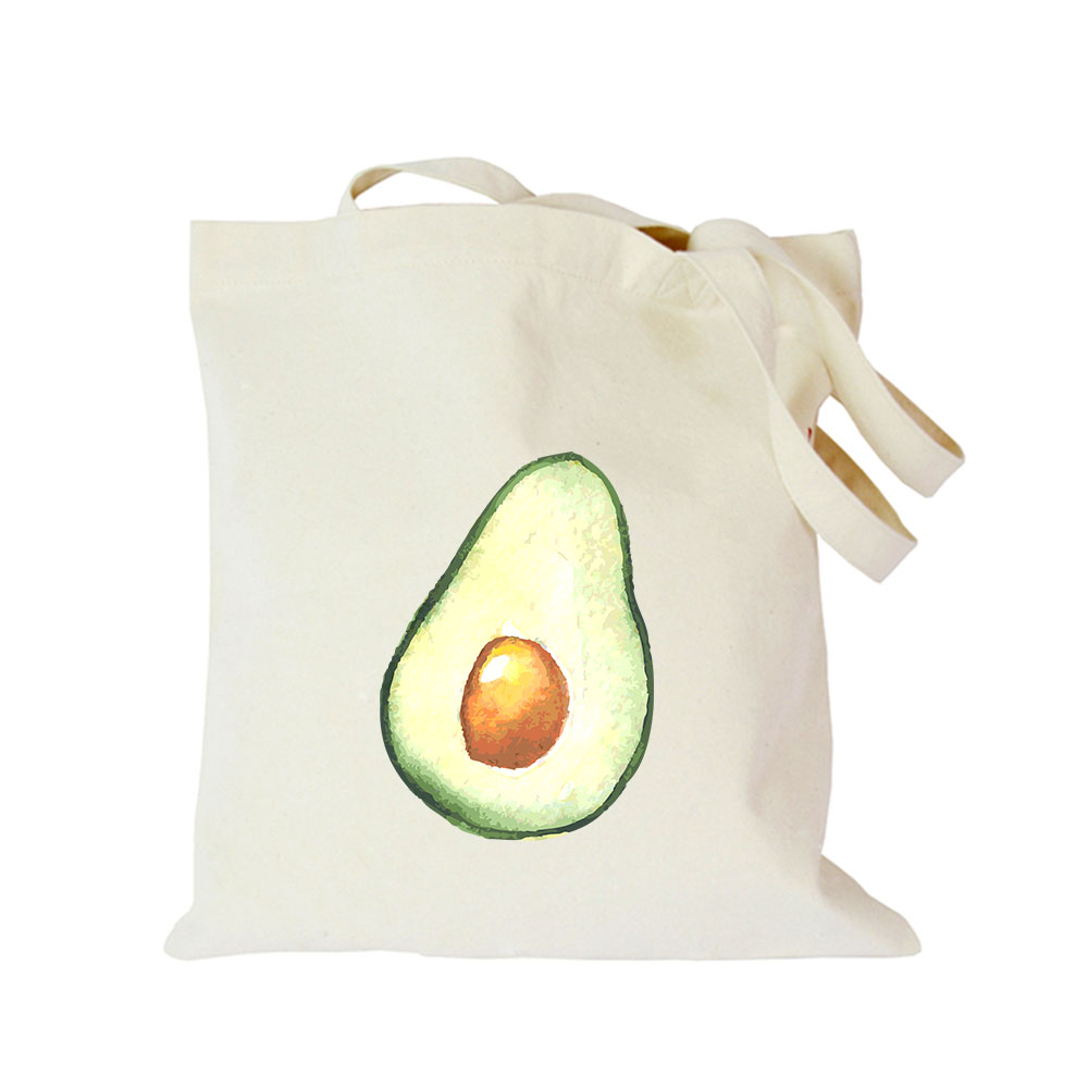 Origina kawaii canvas avocado custom tote bag customize eco diy logo shopping bag with logo (1)
