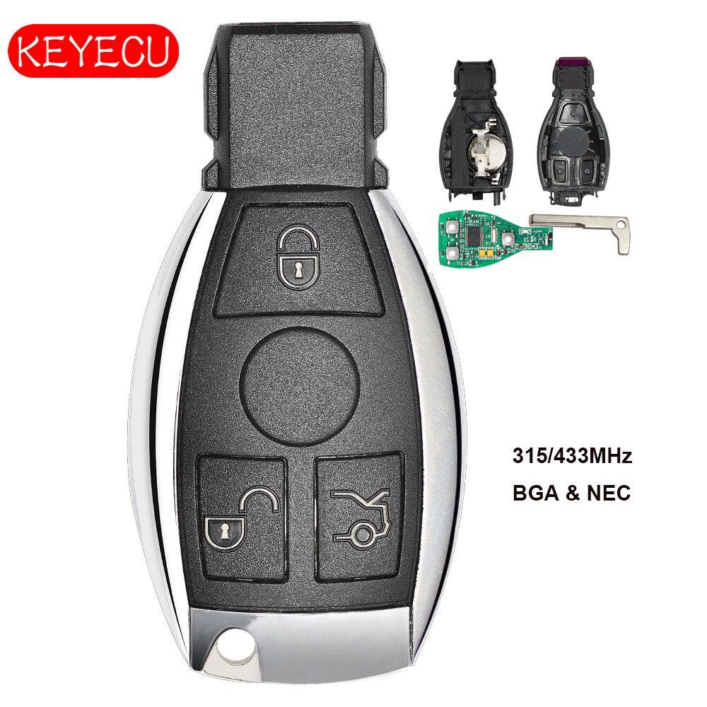 Keyecu Smart Key 3 Bottoni 315 mhz/433 mhz per Mercedes Benz Auto Chiave A Distanza Supporto NEC E BGA 2000 + AnnoKeyecu Smart Key 3 Bottoni 315 mhz/433 mhz per Mercedes Benz Auto Chiave A Distanza Supporto NEC E BGA 2000 + Anno