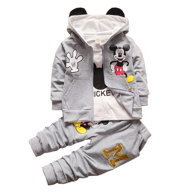 Children Kids Boys Girls Clothing Set Autumn Winter 3 Piece Sets Hooded Coat Suits Cartoon Baby Boy Girl Clothes Coat jacket