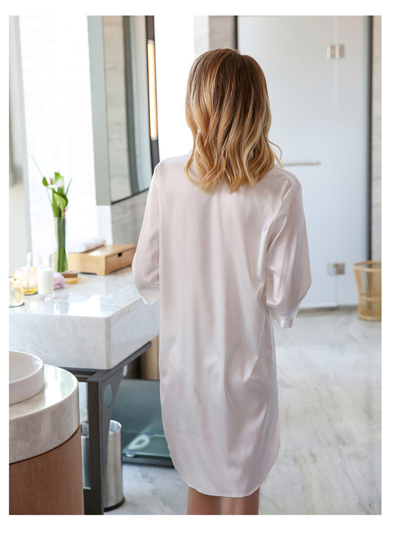 BF Shirt Dress Long Silk Sleepwear 2018 Summer Women Hot Sexy Letter Sleepwear  Silk Nightgown New Arrivals Mini Shirt Night Dress ... e1fd1cb0f