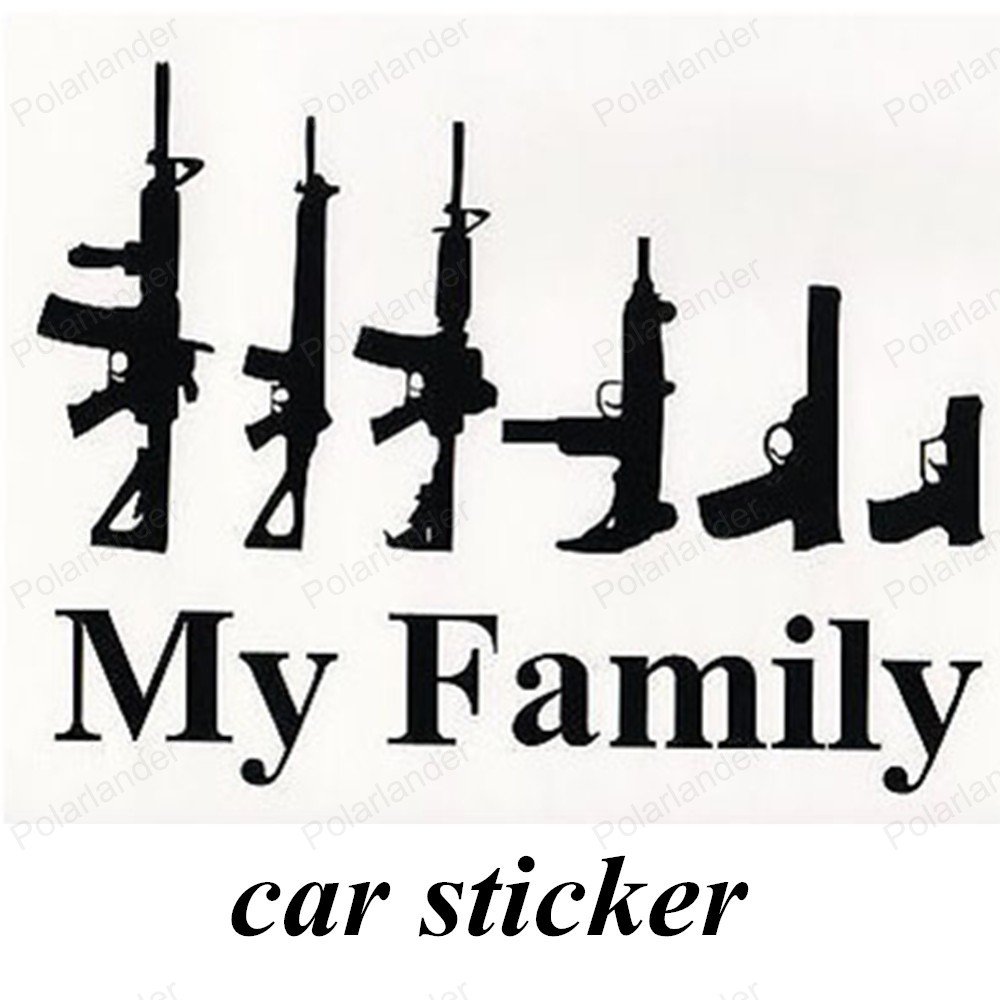 Family car sticker designs - Hot Sell Affixed To The Body Black Color Car Styling Stickers Cool Design Personality Vehicle Gun My Family