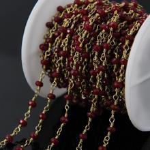 5 Metros de color rojo Vino Malasia Jade Cadena de Rosario, Rondelle Facetas con Alambre De Bronce Envuelto Cadenas DIY Collar de la pulsera joyería