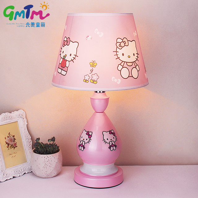 Hand Painted Hardware Little Girl Pink Kids Room Light Cartoon Table Lamp  Children Hello Kitty
