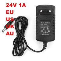 5PCS 24V Power adapter 24V 1A 100 240VAC DC 24V DC line 120CM EU UK US AU plug