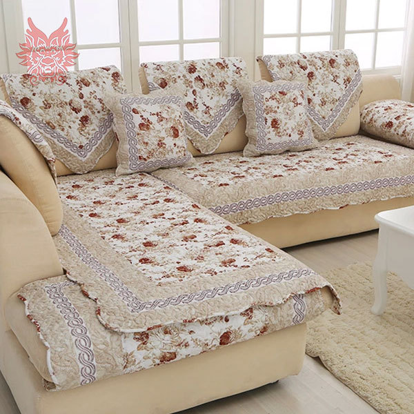 European Style Fl Print Sofa Cover 100 Cotton Cloth Quilting Slipcovers Winter Canape For Top Fashion Sofasp1191 In From Home Garden On
