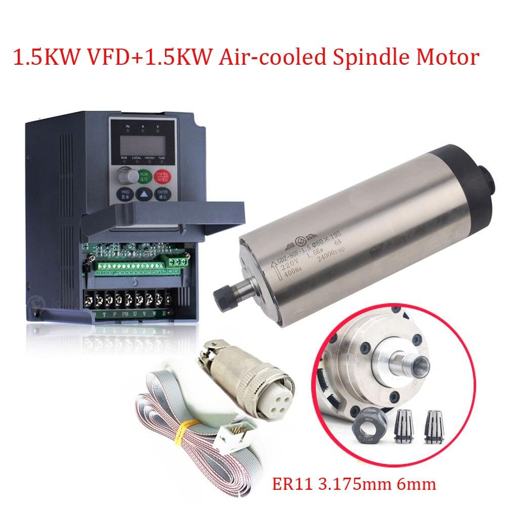 80*195mm 1.5KW 220 V 6A 0.91NM 400 HZ ER11 24000 rpm haute vitesse moteur de broche + VFD pour la gravure sur bois