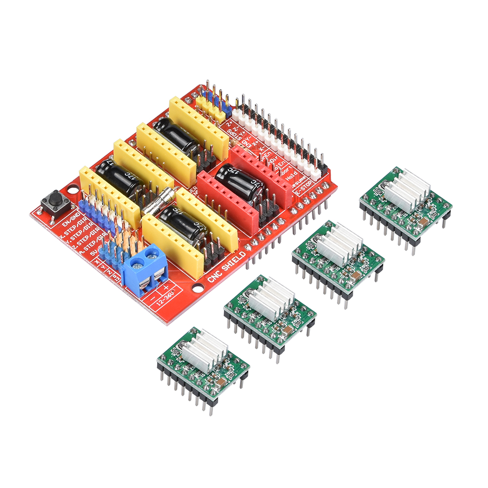 цена на CNC shield V3 engraving machine + 4pc A4988 Stepper Motor Driver with Heat Sink expansion board for 3D printer kits