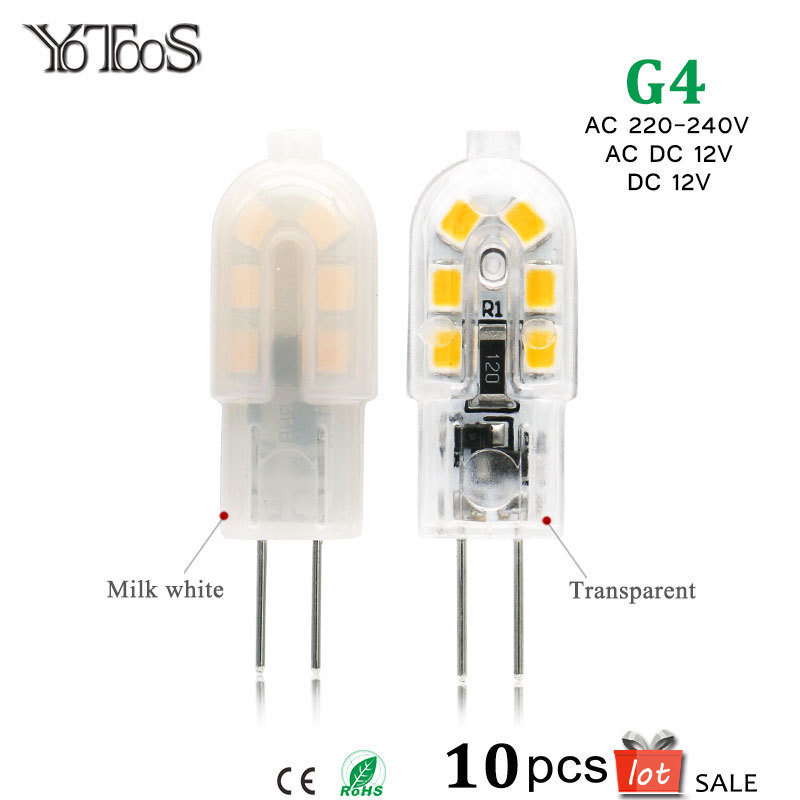 10pcs lot G4 Led 12v Lamp Bulb Light 220V 240V AC DC SMD 2835 LEDs Lights 360 degree Replace g4 Halogen Lamps For Home Lighting