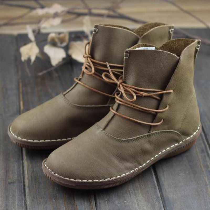 Women Boots Genuine Leather Shoes Brown Black Flat Ankle Boots Round toe lace up Spring Autumn
