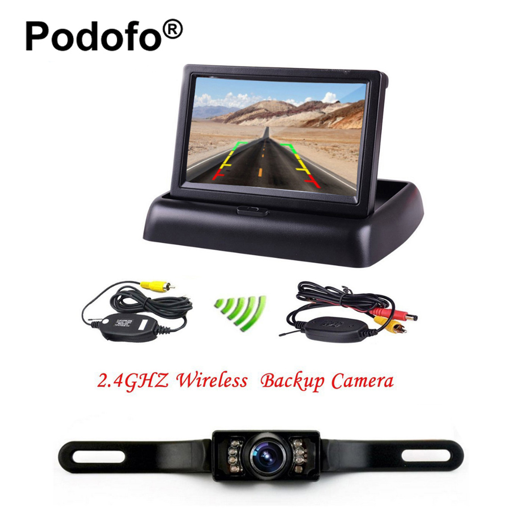 Podofo Wireless Reversing Camera HD 4 3 LCD Foldable Car Monitor with Rear View Camera IR