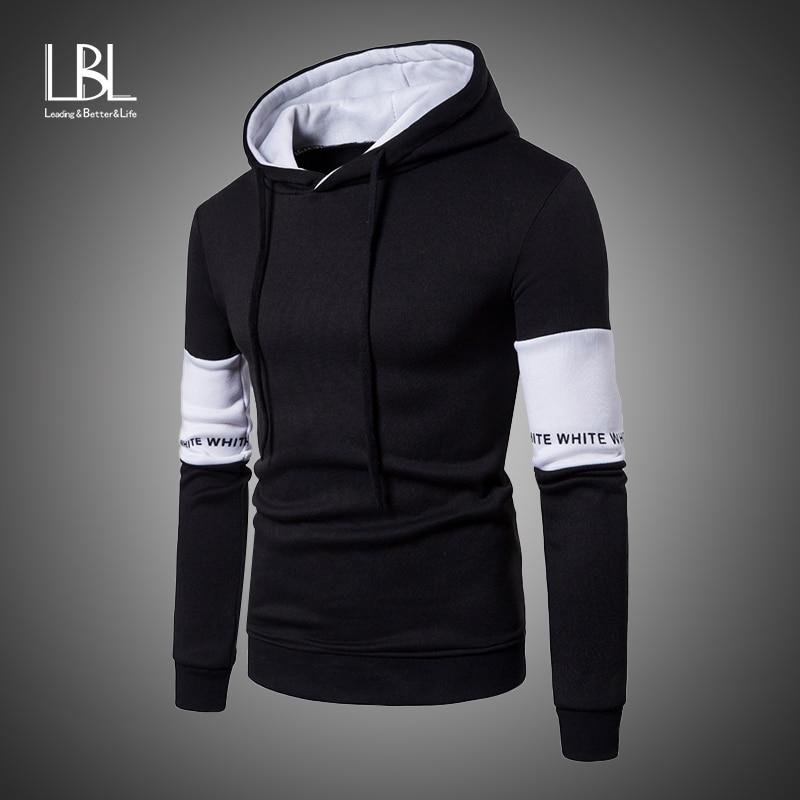 2019 Casual Hoodies Men Fashion New Patchwork Hooded Sweatshirt Coat Mens Moletom Masculino Hoodies Slim Sportswear Tracksuits